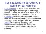 solid baseline infrastructures sound fiscal planning