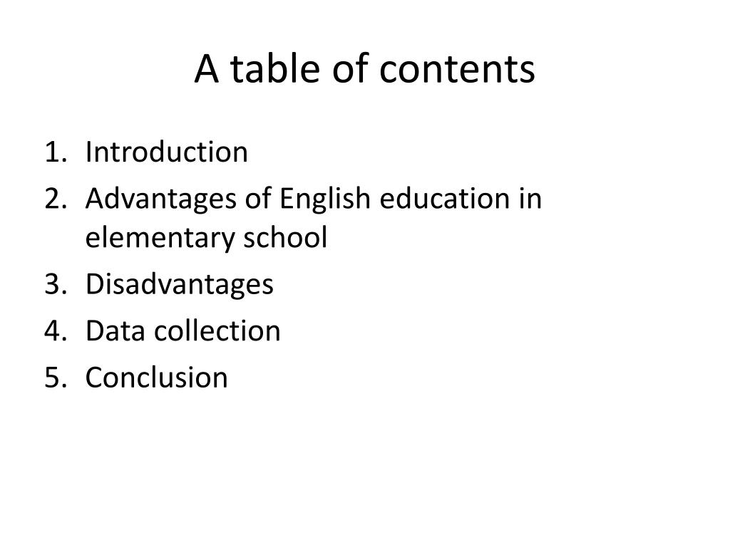 A table of contents