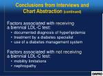 conclusions from interviews and chart abstraction continued