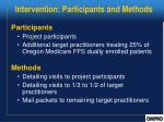 intervention participants and methods