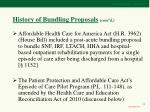 history of bundling proposals cont d13