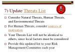 7 update threats list