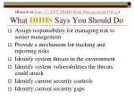 based on june 15 2005 dhhs risk management policy what dhhs says you should do