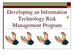 developing an information technology risk management program210