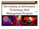 developing an information technology risk management program211