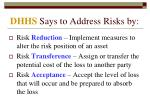 dhhs says to address risks by