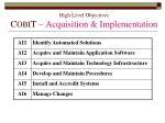 high level objectives c obi t acquisition implementation