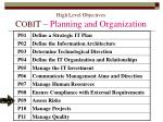 high level objectives c obi t planning and organization