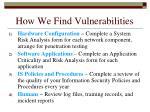 how we find vulnerabilities