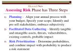 microsoft says assessing risk phase has three steps