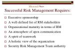 microsoft says successful risk management requires