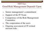 nist says good risk management depends upon148