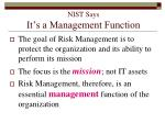 nist says it s a management function