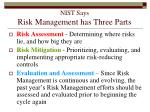 nist says risk management has three parts101