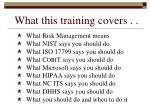 what this training covers