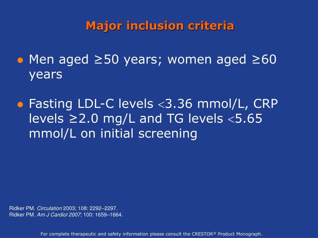 Major inclusion criteria