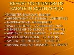 report on situation of karate in south africa
