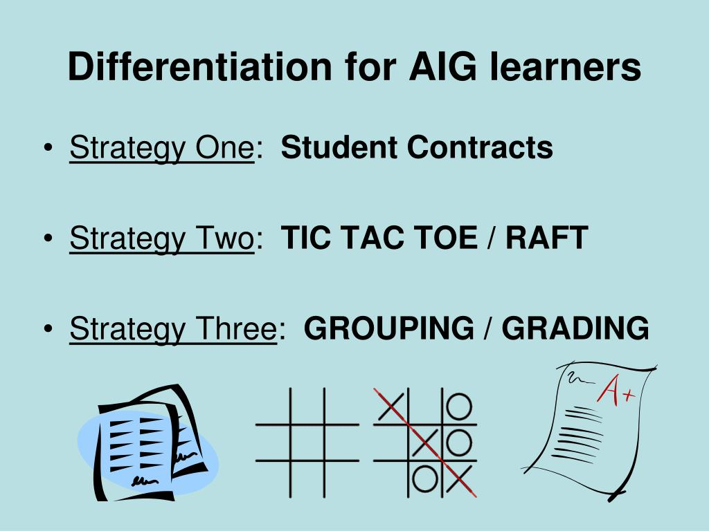Differentiation for AIG learners