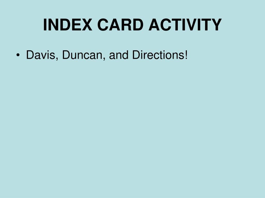 INDEX CARD ACTIVITY
