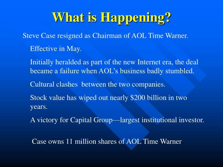 case study aol time warner Running head: challenges at time warner challenges at time warner an assessment study on the impacts of acquiring fox news abstract the purpose of this case study was to examine the impact of acquiring fox news on time warner, inc.