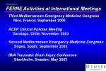 education ferne activities at international meetings