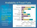 availability of fossil fuels