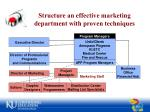 structure an effective marketing department with proven techniques
