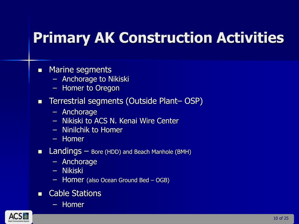 Primary AK Construction Activities