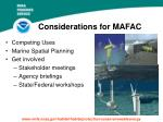 considerations for mafac