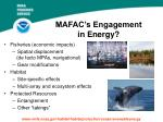 mafac s engagement in energy