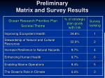 preliminary matrix and survey results