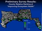 preliminary survey results county relative ranking of improving ecosystem health