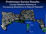 preliminary survey results county relative ranking of increasing resilience to natural hazards