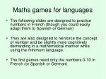 maths games for languages