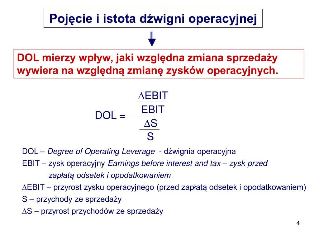 Pojęcie i istota dźwigni operacyjnej