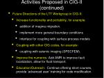 activities proposed in cig ii continued