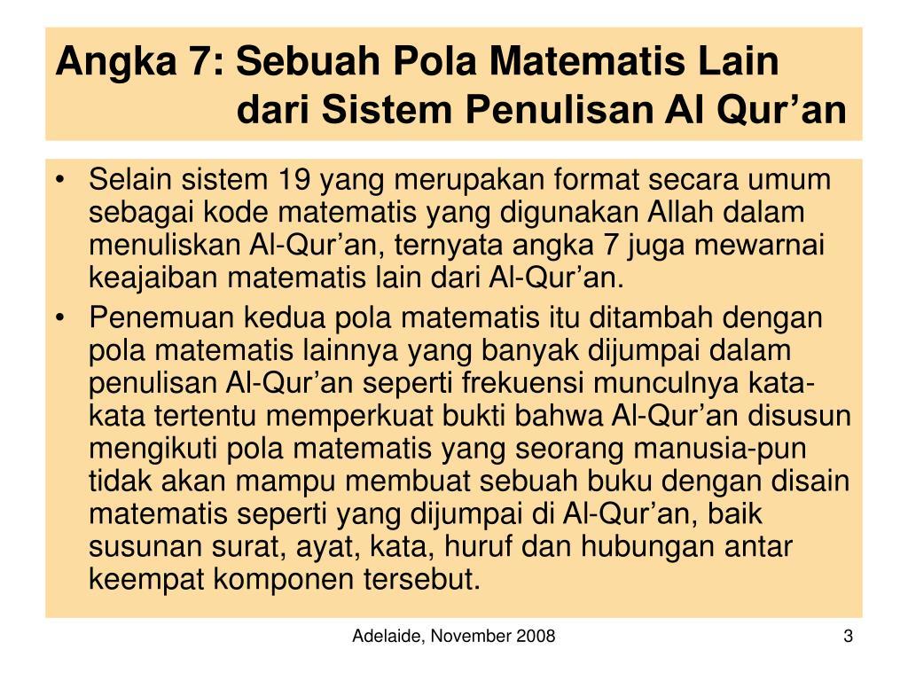 Angka 7: Sebuah Pola Matematis Lain dari Sistem Penulisan Al Qur'an