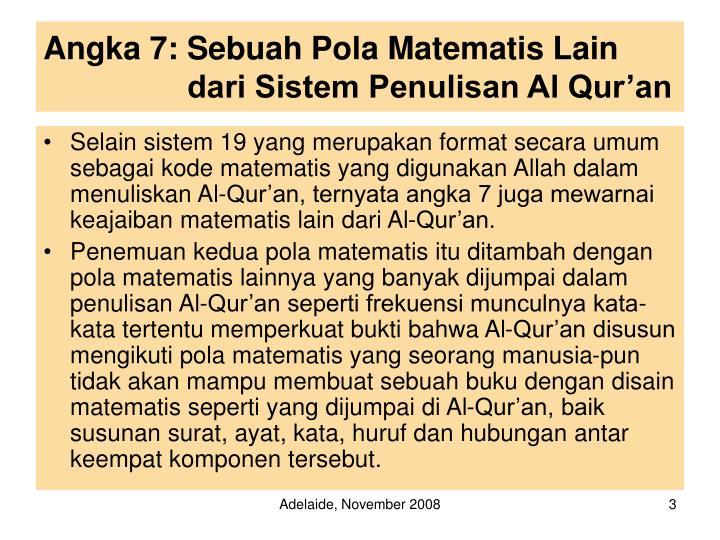 Angka 7 sebuah pola matematis lain dari sistem penulisan al qur an