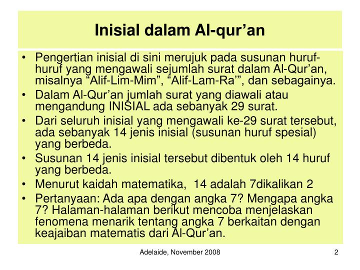 Inisial dalam al qur an