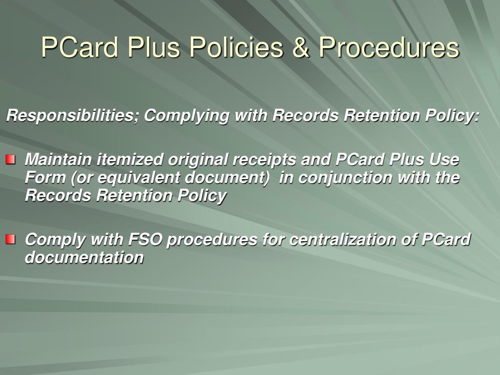 PCard Plus Policies & Procedures