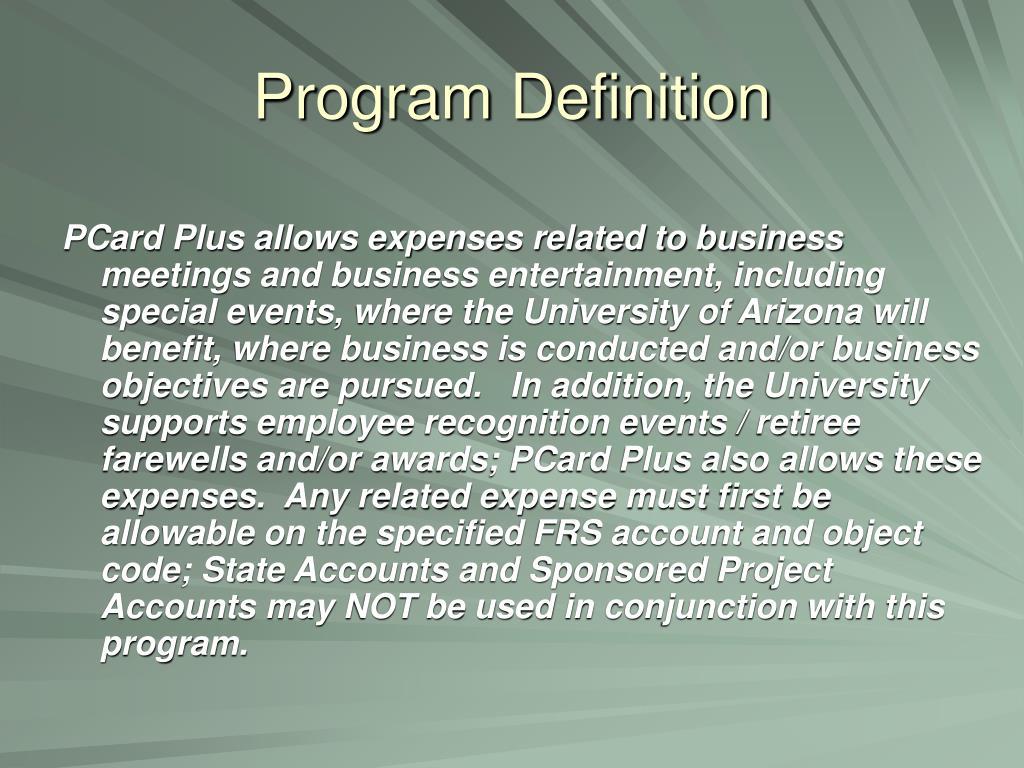 Program Definition