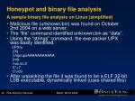 honeypot and binary file analysis a sample binary file analysis on linux simplified
