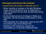 honeypot and binary file analysis a sample binary file analysis on windows cont 3