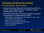 honeypot and binary file analysis forensic analysis basic methods
