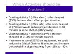 which activities should be crashed