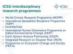 icsu interdisciplinary research programmes