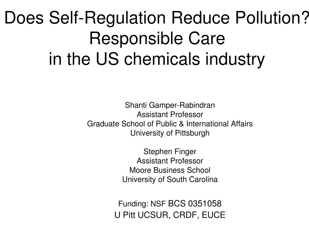 does self regulation reduce pollution responsible care in the us chemicals industry l.