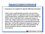 regulatory compliance certification