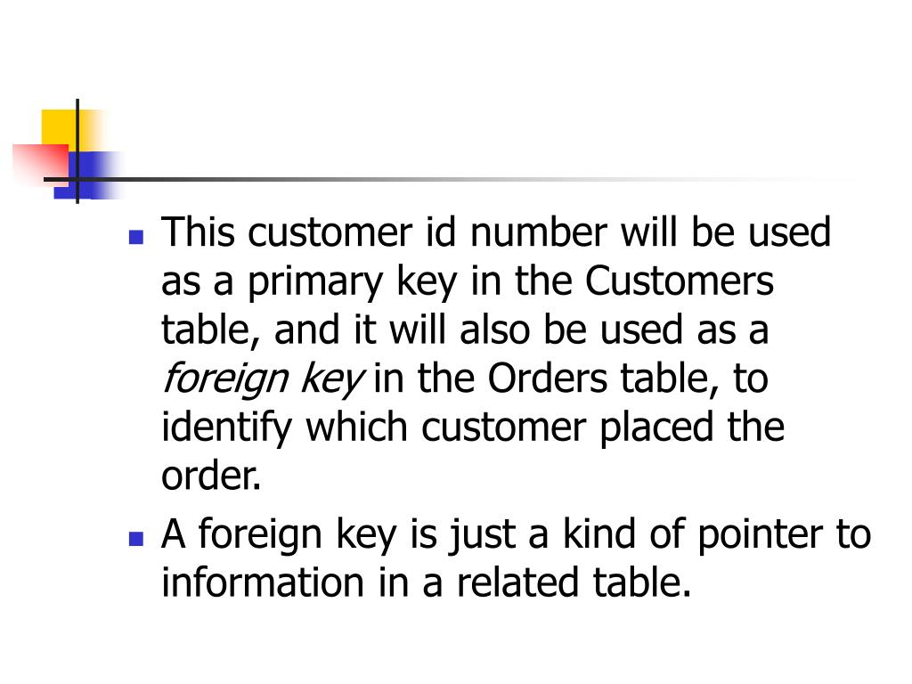 This customer id number will be used as a primary key in the Customers table, and it will also be used as a