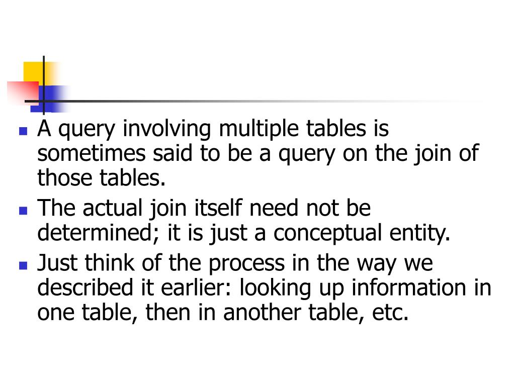 A query involving multiple tables is sometimes said to be a query on the join of those tables.